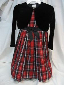 girls taffetta plaid dress