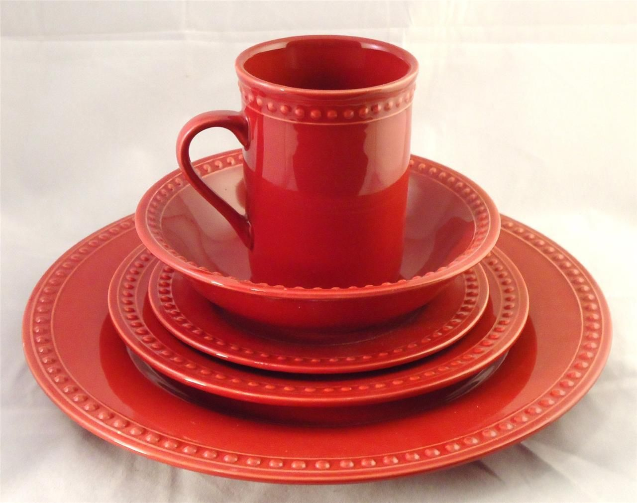 JC PENNEY Home Dinnerware 5 Piece Place Setting for 6 Red Fall \u0026 Holiday Table & JC PENNEY Home Dinnerware 5 Piece Place Setting for 6 Red Fall ...