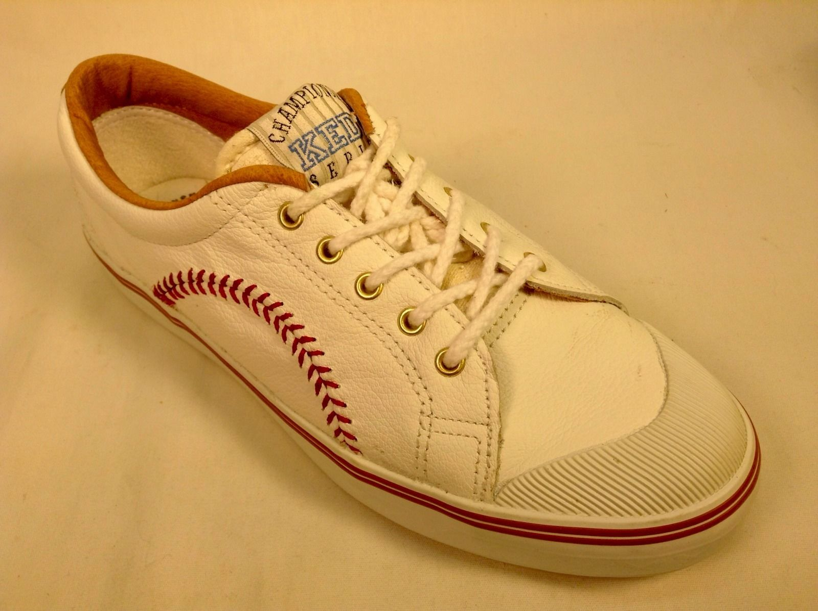 2daac925c8326 Vintage 1992 Keds Championship Series White Leather Baseball Shoes Size 7M
