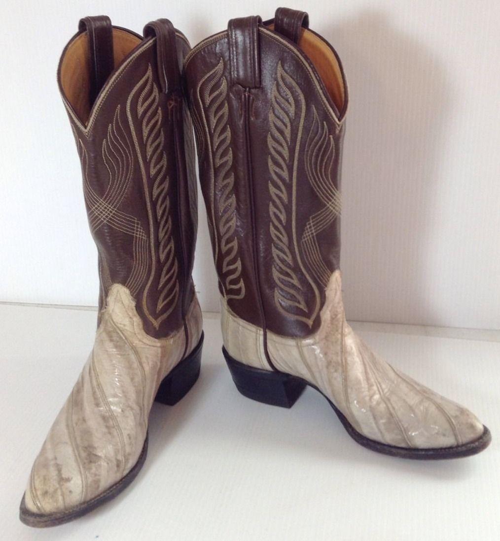 c48b3f4122f TONY LAMA Mens Western Cowboy Boots SIZE 6.5 B Eel Leather Exotic ...