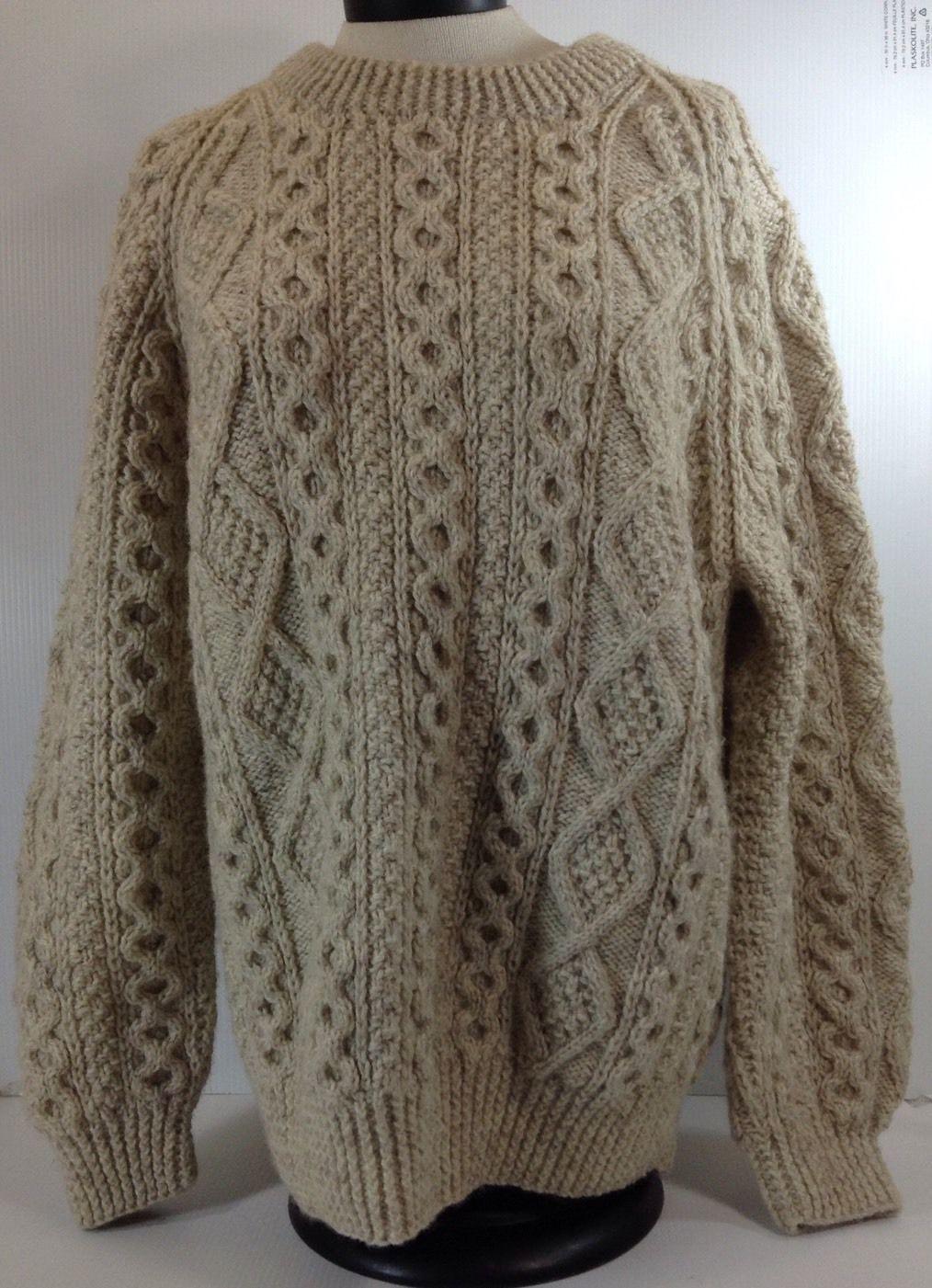 Irish Cable Knit Sweater Patterns : Irish Cable Knit Sweater Handmade Beige Tan Bulky Size XL Robins Gener...