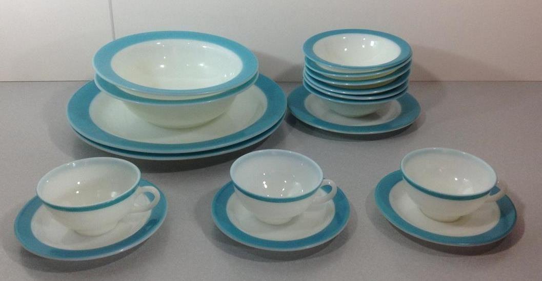 pyrex tur & Vintage Pyrex Opalware Turquoise Blue u0026 White Lot 17 Plates Bowls ...